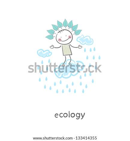 Lord of the rain. Illustration. - stock photo