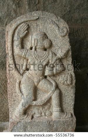 Lord Rama's disciple Anjaneya in valorous pose at museum near Elephants' Stable at Hampi, Karnataka, India, Asia - stock photo