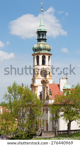 Loreta, Prague -  place consisting of a cloister, the church of the Lord's Birth, a Holy Hut and clock tower with a world famous chime - stock photo