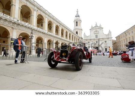 LORETO (AN), ITALY - MAY 15: A red Fiat 514 MM takes part to the 1000 Miglia classic car race on May 15, 2015 in Loreto (AN). The car was built in 1931. - stock photo