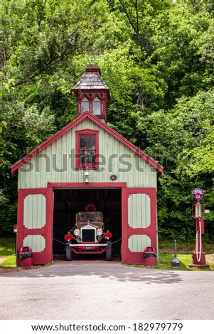LORETTO, KENTUCKY - JUNE 01, 2013: Image of antique fire station on the grounds of Makers Mark bourbon distillery. Makers Mark has been in operation since 1954 and is a part of Kentucky Bourbon Trail - stock photo