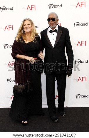 Lori McCreary and Morgan Freeman at the 40th AFI Life Achievement Award Honoring Shirley MacLaine held at the Sony Studios in Los Angeles, United States, 070612.  - stock photo
