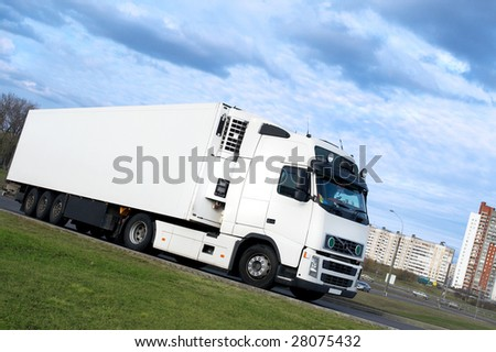 lorry turning - see other trucks in my portfolio - stock photo