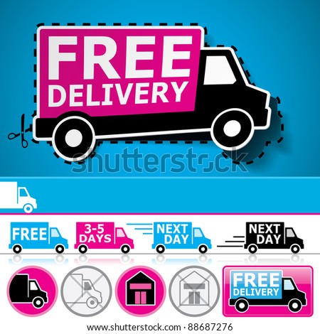 Lorry/van and delivery icons set with cut out coupon illustration, promotional banner and glossy button.