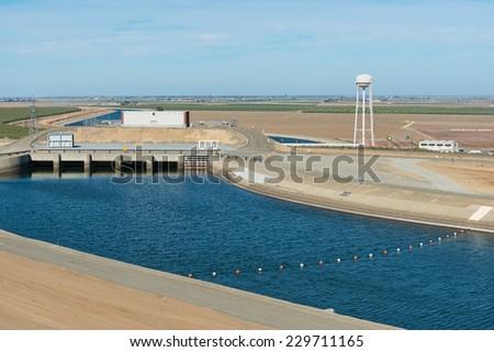 Los Amigos pumping station near Los Banos, California - stock photo
