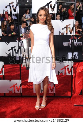 LOS ANGELES - APR 13:  Amber Stevens arrives to the 2014 MTV Movie Awards  on April 13, 2014 in Los Angeles, CA.                 - stock photo