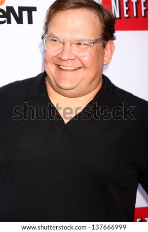 "LOS ANGELES - APR 29:  Andy Richter arrives at the ""Arrested Development"" Los Angeles Premiere at the Chinese Theater on April 29, 2013 in Los Angeles, CA"