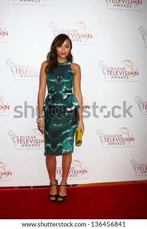LOS ANGELES - APR 25:  Ashley Madekwe arrives at the 2013 College Television Awards at the JW Marriott on April 25, 2013 in Los Angeles, CA - stock photo