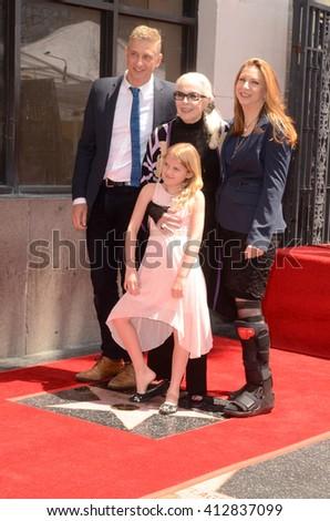 LOS ANGELES - APR 28:  Barbara Bain, Family at the Bairbara Bain Hollywood Walk of Fame Star Ceremony at the Hollywood Walk of Fame on April 28, 2016 in Los Angeles, CA - stock photo