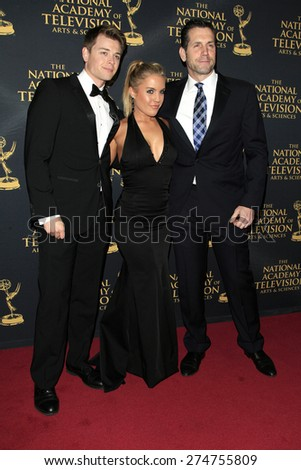 LOS ANGELES - APR 24: Chad Duell, Kristen Alderson, Frank Valentini at The 42nd Daytime Creative Arts Emmy Awards Gala at the Universal Hilton Hotel on April 24, 2015 in Los Angeles, California - stock photo
