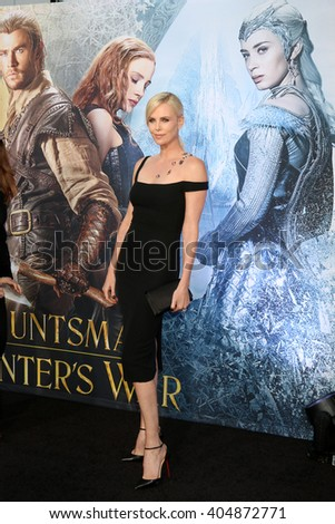 LOS ANGELES - APR 11:  Charlize Theron at the The Huntsman Winter's War American Premiere at the Village Theater on April 11, 2016 in Westwood, CA - stock photo