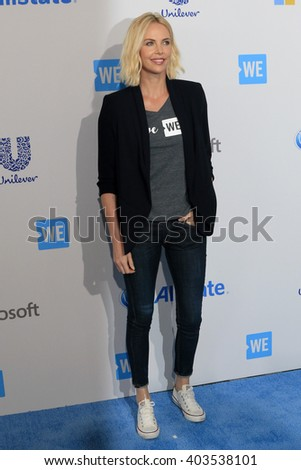 LOS ANGELES - APR 7:  Charlize Theron at the WE Day California 2016 at the The Forum on April 7, 2016 in Inglewood, CA - stock photo