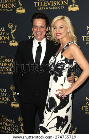 LOS ANGELES - APR 24: Christian LeBlanc, Jessica Collins at The 42nd Daytime Creative Arts Emmy Awards Gala at the Universal Hilton Hotel on April 24, 2015 in Los Angeles, California - stock photo