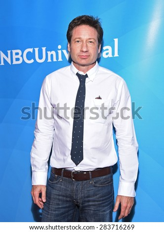LOS ANGELES - APR 02:  David Duchovny arrives to the NBCUniversal's Summer Press Day 2015  on April 02, 2015 in Hollywood, CA                 - stock photo
