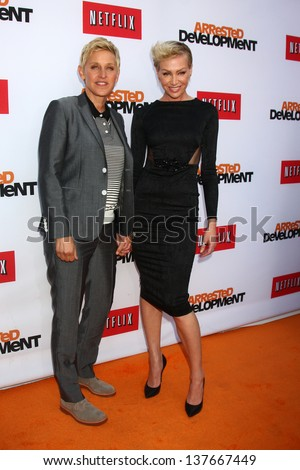 """LOS ANGELES - APR 29:  Ellen DeGeneres, Portia DeRossi arrives at the """"Arrested Development"""" Los Angeles Premiere at the Chinese Theater on April 29, 2013 in Los Angeles, CA - stock photo"""
