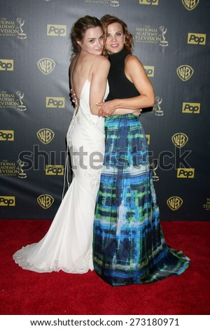 LOS ANGELES - APR 26:  Hunter King, Gina Tognoni at the 2015 Daytime Emmy Awards at the Warner Brothers Studio Lot on April 26, 2015 in Los Angeles, CA - stock photo