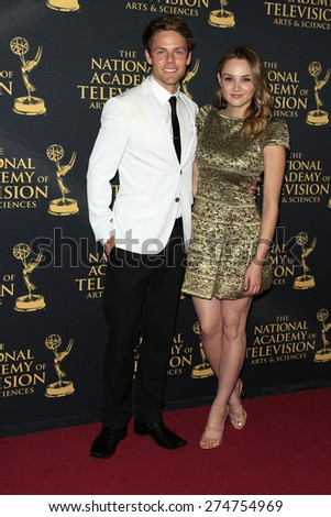 LOS ANGELES - APR 24: Hunter King, Lachlan Buchanan at The 42nd Daytime Creative Arts Emmy Awards Gala at the Universal Hilton Hotel on April 24, 2015 in Los Angeles, California - stock photo