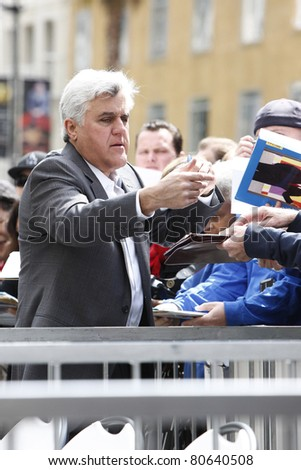 LOS ANGELES - APR 12: Jay Leno at a ceremony where Russell Crowe is honored with the 2404th star on the Hollywood Walk  of Fame, Los Angeles, California on April 12, 2010 - stock photo