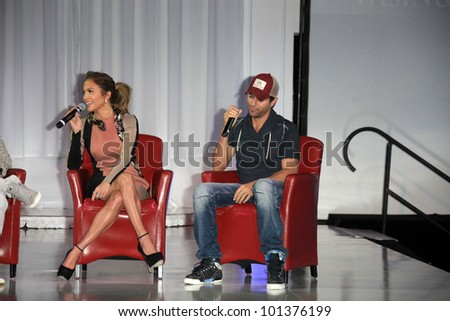 LOS ANGELES - APR 30:  Jennifer Lopez, Enrique Iglesias at a press conference to announce their Summer Tour at Boulevard3 on April 30, 2012 in Los Angeles, CA - stock photo