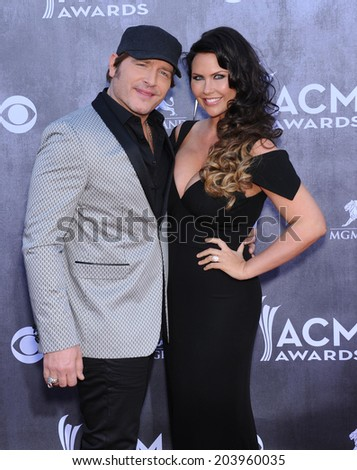 LOS ANGELES - APR 06:  Jerrod Niemann & Morgan Petek arrives to the 49th Annual Academy of Country Music Awards   on April 06, 2014 in Las Vegas, NV.                 - stock photo