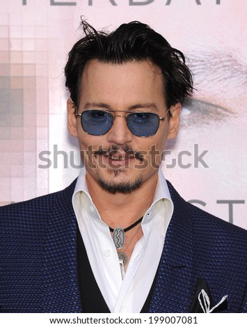 LOS ANGELES - APR 10:  Johnny Depp arrives to the 'Transcendence' Los Angeles Premiere  on April 10, 2014 in Westwood, CA                 - stock photo