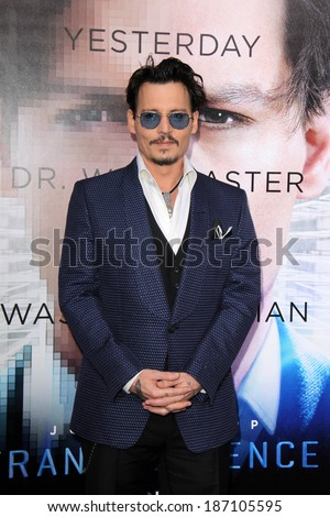 "LOS ANGELES - APR 10:  Johnny Depp at the ""Transcendence"" Premiere at Village Theater on April 10, 2014 in Westwood, CA - stock photo"
