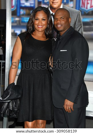 LOS ANGELES - APR 7:  Laila Ali and Curtis Conway arrives at the DRAFT DAY LOS ANGELES PREMIERE   on April 7, 2014 in Westwood, CA                 - stock photo