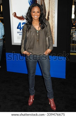 LOS ANGELES - APR 9 - Laila Ali arrives at the 42 Los Angeles Premiere on April 9,  2013 in Los Angeles, CA              - stock photo