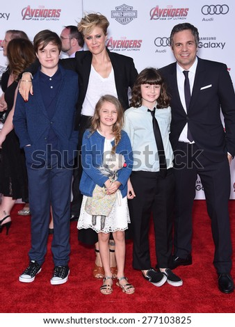 "LOS ANGELES - APR 14:  Mark Ruffalo & Sunrise Coigney arrives to the Marvel's ""Avengers: Age of Ultron"" World Premiere  on April 14, 2015 in Hollywood, CA                 - stock photo"