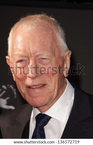 "LOS ANGELES - APR 25:  Max von Sydow arrives at the TCM Classic Film Festival Opening Night Red Carpet ""Funny Girl"" at the Chinese Theater on April 25, 2013 in Los Angeles, CA"