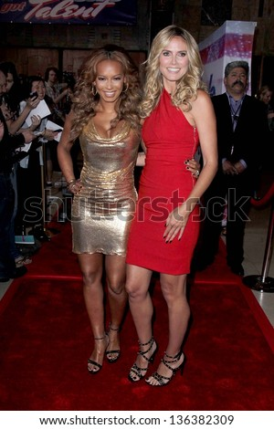 """LOS ANGELES - APR 24:  Mel B, aka Melanie Brown;   Heidi Klum arrives at the """"America's Got Talent"""" Los Angeles Auditions at the Pantages Theater on April 24, 2013 in Los Angeles, CA - stock photo"""