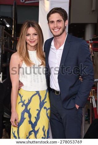 "LOS ANGELES - APR 06:  Melissa Benoist & Blake Jenner arrives to the ""The Longest Ride"" Los Angeles Premiere  on April 06, 2015 in Hollywood, CA                 - stock photo"