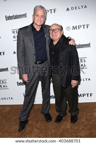 LOS ANGELES - APR 07:  Michael Douglas & Danny DeVito arrives to the Reel Stories, Real Lives  on April 07, 2016 in Hollywood, CA.