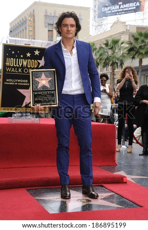 LOS ANGELES - APR 02:  Orlando Bloom arrives to the Walk of Fame honors Orlando Bloom  on April 02, 2014 in Hollywood, CA                 - stock photo