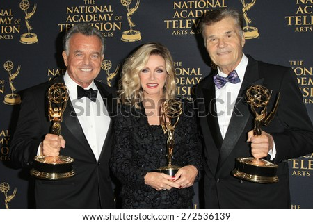 LOS ANGELES - APR 24: Ray Wise, Donna Mills, Fred Willard at The 42nd Daytime Creative Arts Emmy Awards Gala at the Universal Hilton Hotel on April 24, 2015 in Los Angeles, California - stock photo