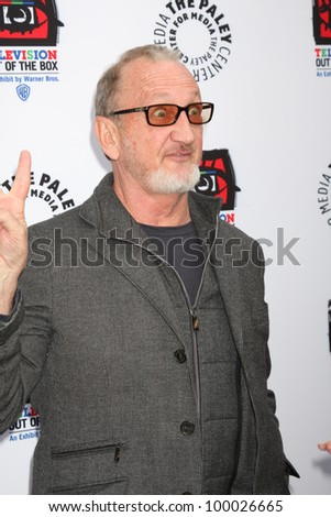 "LOS ANGELES - APR 12:  Robert Englund arrives at Warner Brothers ""Television: Out of the Box"" Exhibit Launch at Paley Center for Media on April 12, 2012 in Beverly Hills, CA - stock photo"