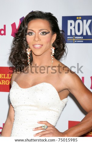LOS ANGELES - APR 10:  Sahara Davenport aka Antoine Ashley arriving at the 25th GLADD Media Awards  at Westin Bonaventure Hotel on April 10, 2011 in Los Angeles, CA - stock photo