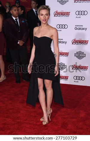 "LOS ANGELES - APR 14:  Scarlett Johansson arrives to the Marvel's ""Avengers: Age of Ultron"" World Premiere  on April 14, 2015 in Hollywood, CA                 - stock photo"