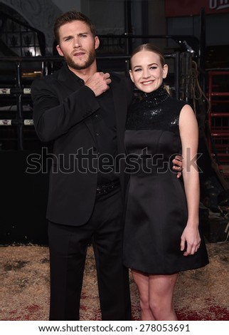 "LOS ANGELES - APR 06:  Scott Eastwood & Britt Robertson arrives to the ""The Longest Ride"" Los Angeles Premiere  on April 06, 2015 in Hollywood, CA                 - stock photo"