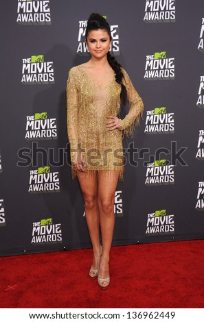 LOS ANGELES - APR 14:  Selena Gomez arrives to the Mtv Movie Awards 2013  on April 14, 2013 in Culver City, CA. - stock photo