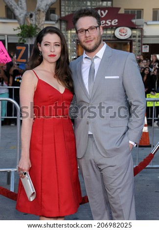 "LOS ANGELES - APR 13:  Seth Rogen & Lauren Miller arrives to the ""Neighbors"" World Premiere  on April 28, 2014 in Westwood, CA.                 - stock photo"