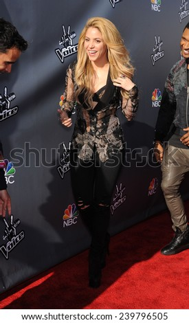 LOS ANGELES - APR 03:  Shakira arrives to the 'The Voice Celebrtaes Season 5  on April 03, 2014 in Hollywood, CA                 - stock photo