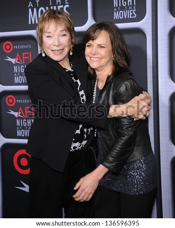 LOS ANGELES - APR 24:  Shirley MacLaine & Sally Field arrives to the AFI Night At The Movies 2013  on April 24, 2013 in Hollywood, CA