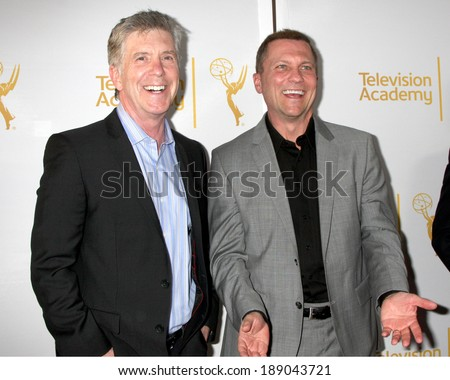 "LOS ANGELES - APR 9:  Tom Bergeron, Todd Thicke at the An Evening with ""America's Funniest Home Videos"" at Academy of Television Arts and Sciences on April 9, 2014 in North Hollywood, CA - stock photo"