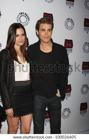 "LOS ANGELES - APR 12:  Torrey DeVitto, Paul Wesley arrives at Warner Brothers ""Television: Out of the Box"" Exhibit Launch at Paley Center for Media on April 12, 2012 in Beverly Hills, CA - stock photo"