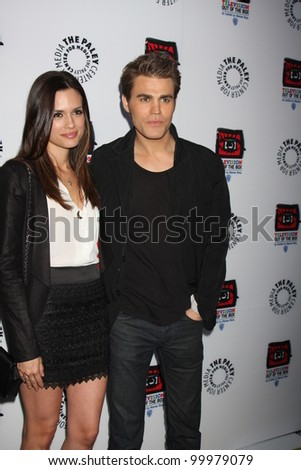 """LOS ANGELES - APR 12:  Torrey DeVitto, Paul Wesley arrives at Warner Brothers """"Television: Out of the Box"""" Exhibit Launch at Paley Center for Media on April 12, 2012 in Beverly Hills, CA - stock photo"""