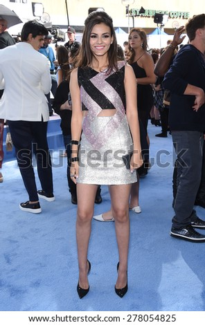 LOS ANGELES - APR 12:  Victoria Justice arrives to the MTV Movie Awards 2015  on April 12, 2015 in Hollywood, CA                 - stock photo