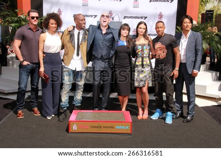 LOS ANGELES - APR 1:  Vin Diesel, Furious 7 Cast and Crew at the Vin Diesel Hand and Foot Print Ceremony at the TCL Chinese Theater on April 1, 2015 in Los Angeles, CA - stock photo