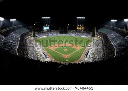 LOS ANGELES - APRIL 9: A general view of Dodger Stadium during the MLB game between the Atlanta Braves & the Los Angeles Dodgers on April 9 2011 at Dodger Stadium in Los Angeles. - stock photo