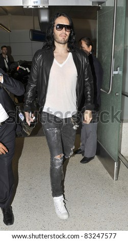 LOS ANGELES-APRIL 23: Actor Russel Brand at LAX airport. April 23 in Los Angeles, California 2011